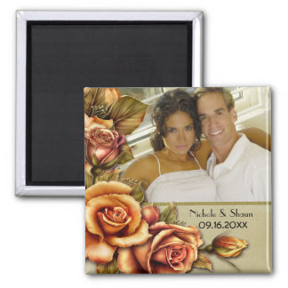 Autumn Rose Glow Floral Wedding - Add Photo Square Magnet
