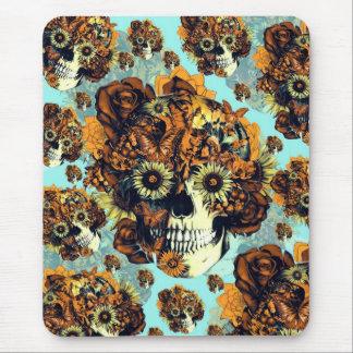 Autumn Rose skull in soft blue and orange Mousepad