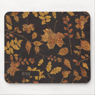Autumn Rustic Golden Leaves Elegant Fall Mouse Pad