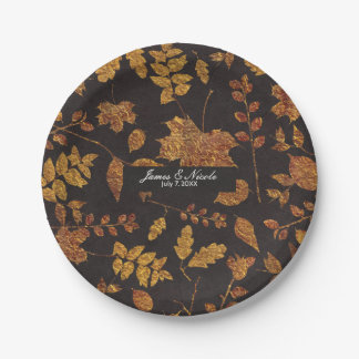 Autumn Rustic Golden Leaves Elegant Wedding 7 Inch Paper Plate
