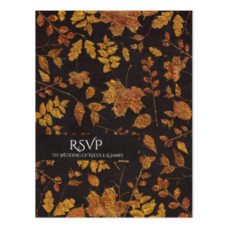 Autumn Rustic Golden Leaves Elegant Wedding RSVP Postcard