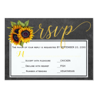 Autumn rustic sunflowers wedding script rsvp card