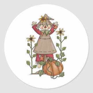 Autumn Scarecrows · Scarecrow 4 Classic Round Sticker