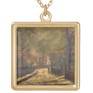 Autumn Scene, Leeds, 1874 (oil on board) Gold Plated Necklace