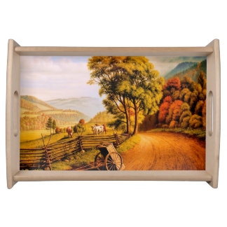 Autumn Scenery Painting Thanksgiving Serving Tray