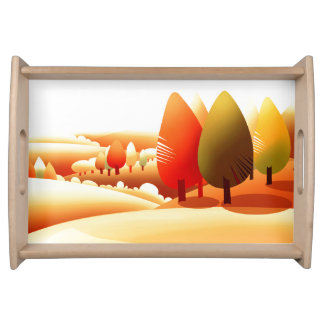 Autumn Scenery Thanksgiving Serving Tray