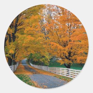 Autumn Scenic Backroad New Hampshire Classic Round Sticker