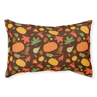 Autumn seamless background, Thanksgiving day. Pet Bed