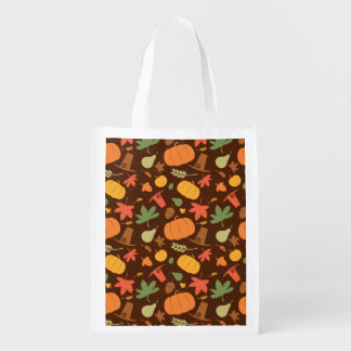 Autumn seamless background, Thanksgiving day. Reusable Grocery Bag