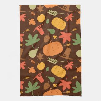 Autumn seamless background, Thanksgiving day. Tea Towel
