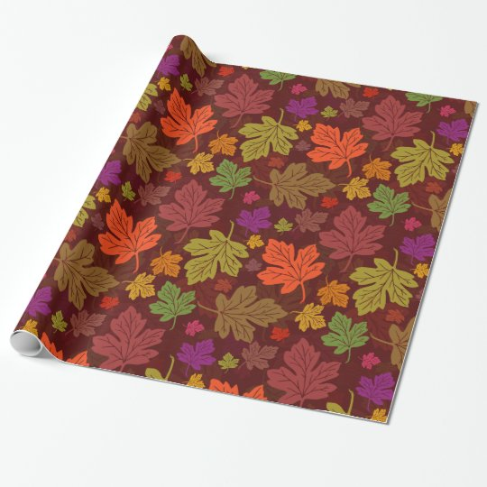 Autumn Season Maple Leaves Bright Pattern Wrapping Paper