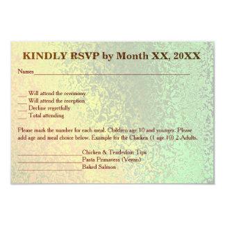Autumn Shades of Green Yellow Wedding Menu RSVP 9 Cm X 13 Cm Invitation Card