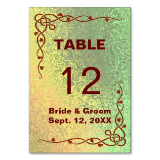 Autumn Shades of Green Yellow Wedding Table Card