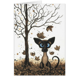 Autumn Siamese Cat by BiHrLe Card