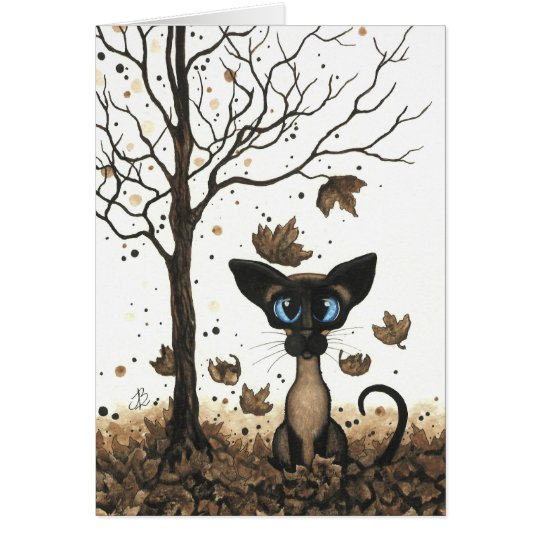 Autumn Siamese Cat by BiHrLe Card