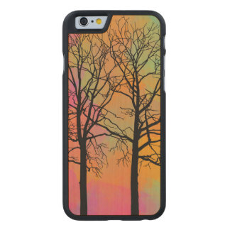Autumn Skies Tree Silhouette Carved Maple iPhone 6 Case
