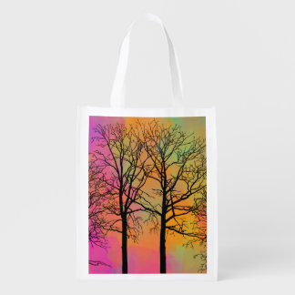Autumn Skies Tree Silhouette Grocery Bags
