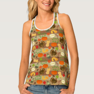 Autumn Squash Turkey Fall Thanksgiving Pattern Tank Top