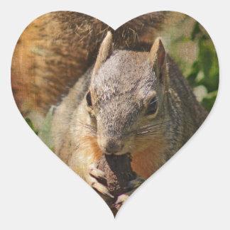 Autumn Squirrel at Lunch Heart Sticker