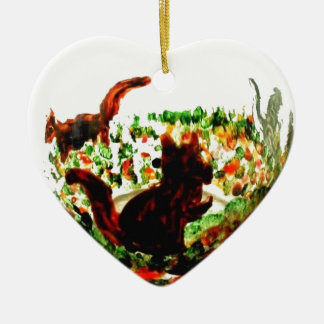 Autumn Squirrels Animal Art Ceramic Heart Decoration