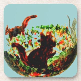 Autumn Squirrels Animal Art Coaster