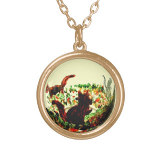 Autumn Squirrels Animal Art Gold Plated Necklace
