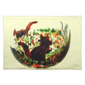 Autumn Squirrels Animal Art Placemat