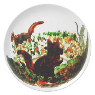 Autumn Squirrels Animal Art Plate