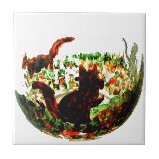 Autumn Squirrels Animal Art Tile
