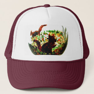 Autumn Squirrels Animal Art Trucker Hat