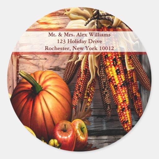 Autumn Still Life Thanksgiving Address Labels Round Stickers