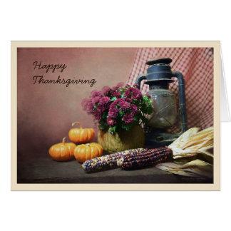 Autumn Still Life With Lantern, Mums and Pumpkins Card