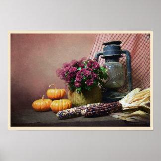 Autumn Still Life With Lantern, Mums and Pumpkins Poster