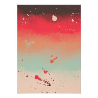 Autumn Stripes Watercolor Abstract Splatters Poster