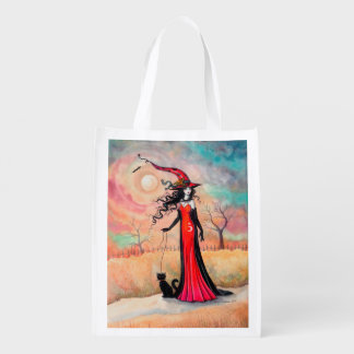 Autumn Stroll Halloween Witch Fantasy Art Reusable Grocery Bag