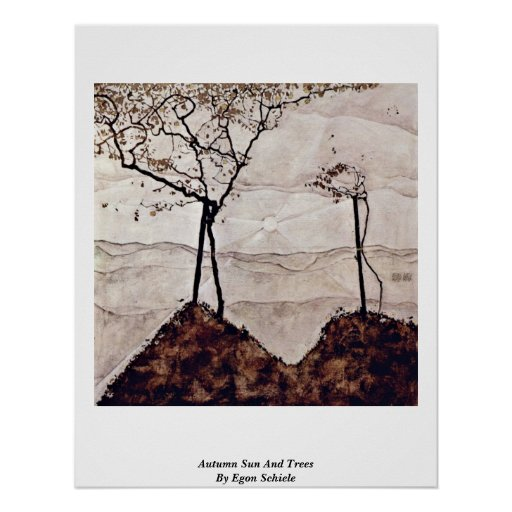 Autumn Sun And Trees By Egon Schiele Poster