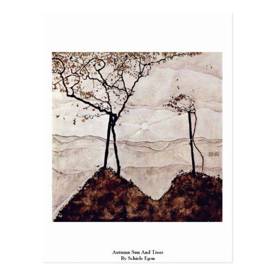Autumn Sun And Trees By Schiele Egon Postcard
