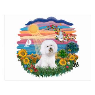 Autumn Sun - Bichon Frise Postcard