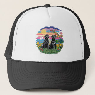 Autumn Sun - Two Black Labs Trucker Hat