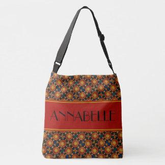 Autumn Sunburst Pattern Custom Name Crossbody Bag