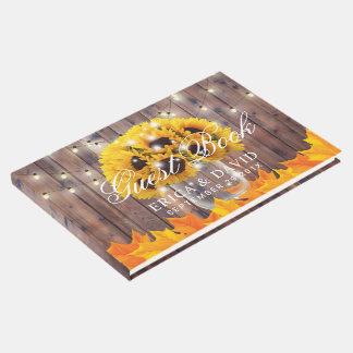 Autumn Sunflower Jar String Lights Rustic Wedding Guest Book