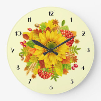 Autumn sunflower wall clock