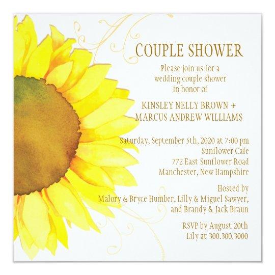 Autumn Sunflower Wedding Couple Shower Card