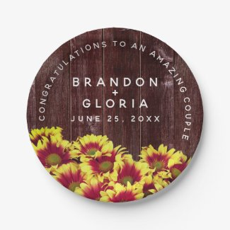 Autumn Sunflowers on Wooden Fence Wedding Paper Plate