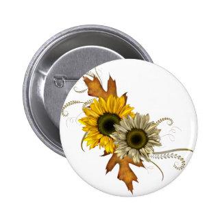 Autumn Sunflowers Pinback Buttons
