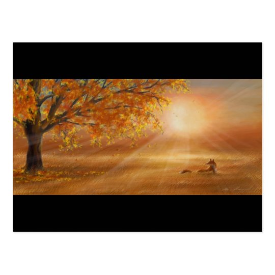 Autumn sunset glow postcard