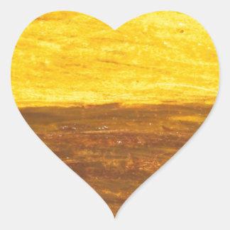 Autumn Sunset over Harvest Field (minimalism) Heart Stickers
