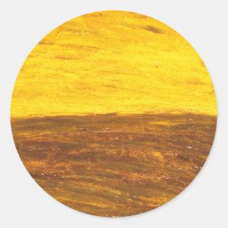 Autumn Sunset over Harvest Field minimalism Round Sticker
