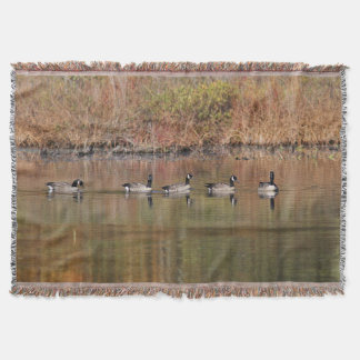 Autumn Swimmers - Canada Geese Throw Blanket