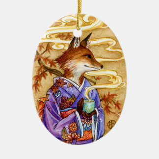 Autumn Tea fox kitsune art ornament